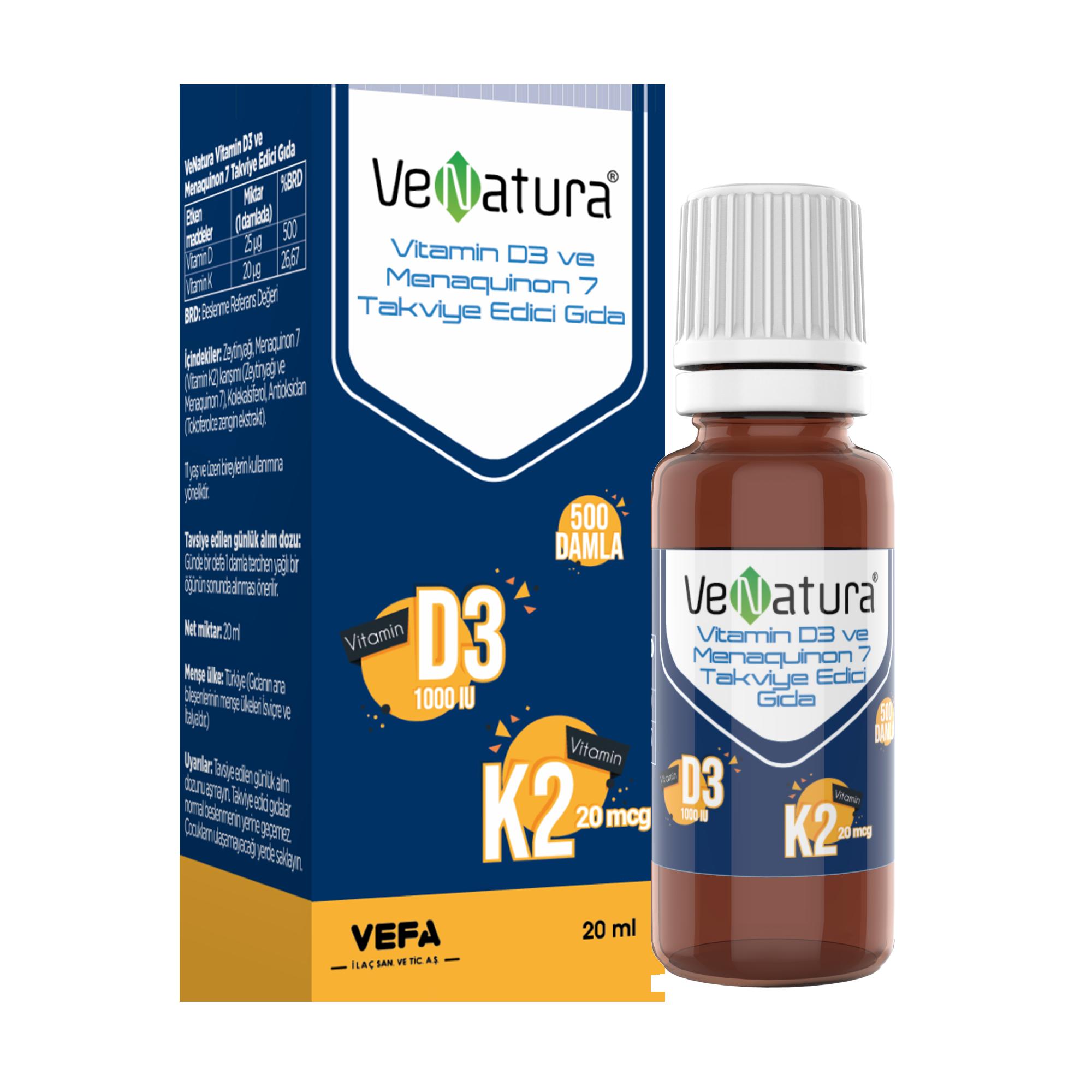 VeNatura Vitamin D3 K2 (Menaquinon 7) 20 ML Damla - Pharmaland